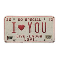 "Free Vintage License Plate ""I Love You"" for your blog, website, scrapbook pages, digital or visual art project."