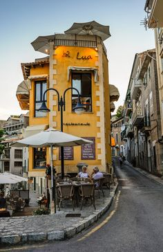 Lua Restaurant, Port de Soller, Mallorca, Balearic Islands in the Mediterranean, Spain. Oh The Places You'll Go, Places To Travel, Places To Visit, Menorca, Beautiful World, Beautiful Places, Beautiful Pictures, Port De Soller, Voyage Europe