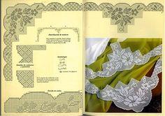 "Photo from album ""кайма on Yandex. Filet Crochet Charts, Crochet Borders, Crochet Diagram, Crochet Stitches, Crochet Patterns, Crochet Edgings, Crochet Dollies, Crochet Tablecloth, Lace Border"
