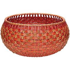 Large Red Fish Natural Fish Scale Basket design by Lazy Susan ($298) ❤ liked on Polyvore featuring home, home decor, small item storage, baskets, red home decor, red basket, fish home decor, wicker baskets and fish basket