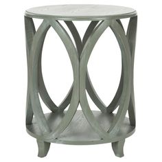 Crafted of elm in an ash grey finish, this elegant side table showcases an openwork design for eye-catching appeal.     Product: Sid...