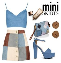 """A-Line Mini Skirt"" by waldorf-designs ❤ liked on Polyvore featuring Boohoo, J. Adams, Marc Jacobs, TOMS and Nude by Nature"