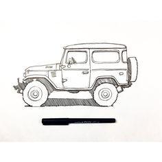 Toyota Land Cruiser, Fj Cruiser, Carros Toyota, Jeep Stickers, Mini Doodle, Wood Pallet Art, Toyota Fj40, Car Drawings, Pencil Drawings