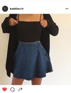These are never going to be outdated. How about we perceive how we can style the denim skirt. Here are 23 cute denim skirt outfits we absolutely love! Mode Outfits, Fall Outfits, Summer Outfits, Casual Outfits, Fashion Outfits, Womens Fashion, Denim Skirt Outfits, Fashion Fashion, Fashion Ideas