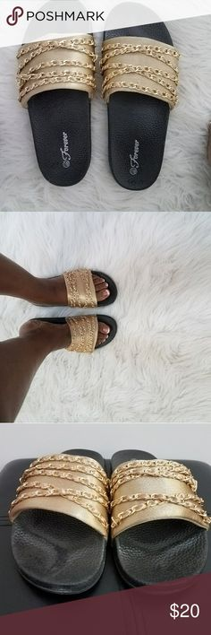 Gold and black chain slides Black Gum button and gold accent with gold chains forever Shoes Sandals