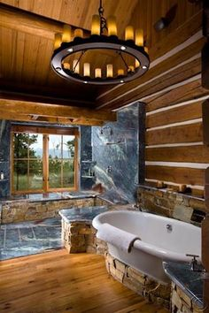 "Rustic Master Bathroom with BELLAWOOD  3/4"" x 3-1/4"" Natural Australian Cypress, High ceiling, Slate counters, Chandelier"