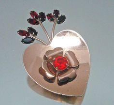 "1940's Coro Craft Sterling Silver Rhinestone Heart Pin Brooch """