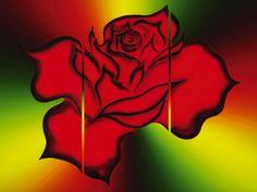 Walter Zettl: Blühende Fantasie Rose - Leinwandbild auf Keilrahmen Leinwandbilder