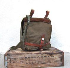 Vintage Swiss Military Bread Bags Satchel Messenger Bag