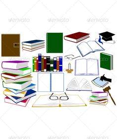 Different Kinds of Books and Accessories ...  ballpoint, book, candle, closed, color, cover, education, eyeglasses, hammer, hand, hat, holder, isolated, judge, law, newspaper, notebook, notes, novel, opened, pages, pen, pencil, sheet, shuffled, silhouette, spring, stack, student, vector