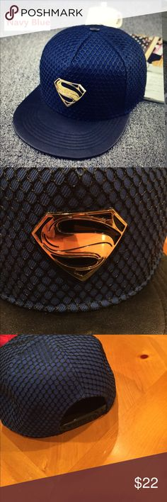 Superman SnapBack Adjustable Cap/New Great looking baseball/hip-hop Superman hat with a shiny metal logo on the front and adjustable SnapBack Superman Accessories Hats
