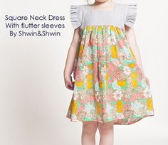 Tutorial: Girl's square neck dress with flutter sleeves