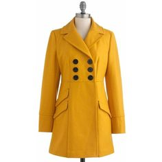 Tulle Clothing Dijon My Mind Coat ❤ liked on Polyvore featuring outerwear, coats, yellow peacoat, yellow coat, vintage style coats, pea coat and yellow pea coat