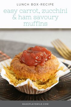 The most deliciously easy SAVOURY MUFFINS made with carrot, zucchini and ham. They're perfect for school lunch boxes… and are freezer-friendly too! #savoury #savory #muffins #lunchbox #vegetable #thermomix #kids #best #recipe #healthy