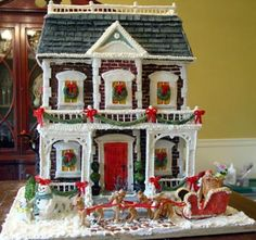 a Christmasy gingerbread house