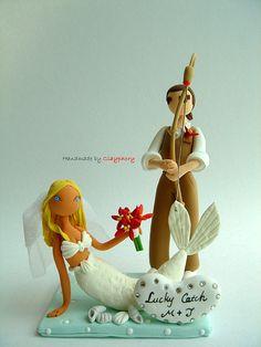 Lucky catch wedding cake topper