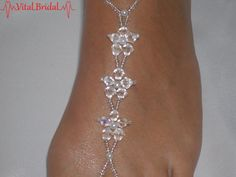 Wedding Barefoot Sandals Foot Jewelry Beaded by VitalBridal Beaded Foot Jewelry, Beaded Sandals, Beaded Anklets, Beaded Jewelry Patterns, Body Jewelry, Bridal Jewelry, Feet Jewelry, Bead Jewellery, Beading Patterns