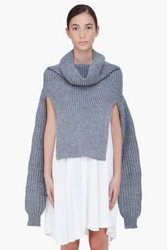 PHILLIP LIM Grey Ribbed Funnel Neck Shrug