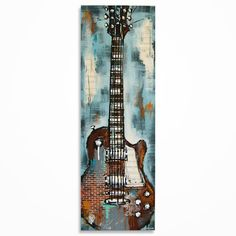 Guitar painting Gift for musician Textured Brick by MagierFineArt