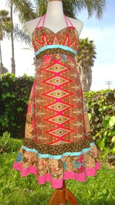 BEAUTIFUL one of a KIND Red Gold Indonesian Batik Patchwork Dress by elyse oRiGiNaLs, $219.00