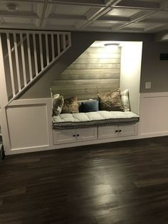 44 Unbelievable Storage Under Staircase Ideas Bewitching Your Staircase Look Cle. - Home Decoration Storage Under Staircase, Staircase Design, Basement Remodel Diy, Diy Remodel, Home Remodeling, Diy Basement, House, Basement Bedrooms, Home Decor