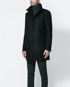 Zara Man coat with wraparound collar