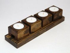 Woodworking Candle Holder, Woodworking Diy Gifts, Woodworking Supplies, Woodworking Bench, Woodworking Projects, Easy Wood Projects, Wooden Candle Holders, Wood Blocks, Decoration
