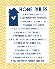 Home Rules - Subway Art - Digital File xx Airbnb House Rules, House Rules Sign, Home Rules, House Signs, Family Rules, Family Kids, Roommate Rules, Roommate Ideas, Rules For Kids