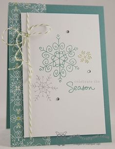 Celebrate The Season Endless Wishes CAS Christmas Card Stamped Christmas Cards, Christmas Card Crafts, Homemade Christmas Cards, Noel Christmas, Xmas Cards, Homemade Cards, Christmas Snowflakes, Simple Christmas, Holiday Cards