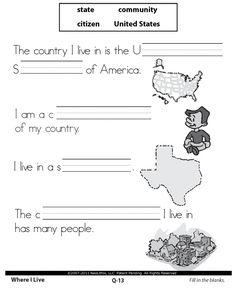 First Grade social Studies Worksheets