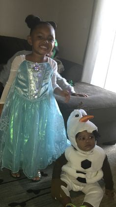 Elsa and Olaf. Brother and sister costumes