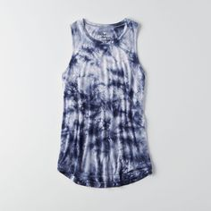 AEO Soft & Sexy Drapey Tank ($15) ❤ liked on Polyvore featuring tops, drapey tank, tie dye tops, high neck tank top, tye dye tank top and drape top