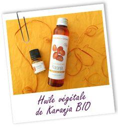 Huile végétale de Karanja BIO J'ai confectionné ma crème solaire moi-même : 40g d'HV de karanja, 30g de beurre de tucuma, 50g d'oxyde de zinc, 80g de lait végétal neutre et quelques gouttes de fragrance.
