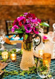 Crystal pitcher floral centerpieces