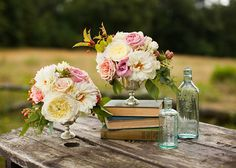 pretty blush inspired with medicine bottles and books (Bottle Centerpieces Rustic) Vintage Centerpieces, Bottle Centerpieces, Wedding Centerpieces, Reception Decorations, Floral Wedding, Rustic Wedding, Wedding Flowers, Wedding Music, Dream Wedding