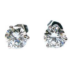 1stdibs | J BIRNBACH - Classic Diamond Ear Studs - 2 carats.  Perfect, classic, love it!