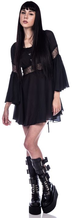 Lip Service Lace Detailed Bell Sleeve Dress from Dolls Kill... Nice!!