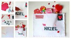 carta de san valentin materiales tela blanca dulces