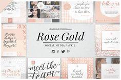 ROSE GOLD | Social Media Pack 2 by Marigold Studios on @creativemarket