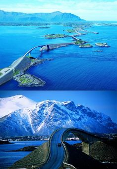 The Atlantic Ocean Road, Norway. Built high enough for the waves to crash…