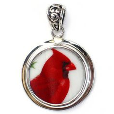 Vintage Belle - Broken China Jewelry   DESCRIPTION: Sterling Silver Circle Pendant  PATTERN: National Wildlife Federation Cardinal  SIZE: 1.25 Wide