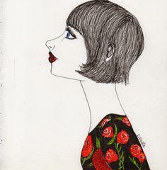 Girl with bob by Ileana Perez-Monroy Gel pen illustration.