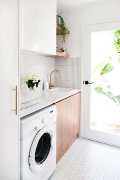 MY LAUNDRY RENOVATION REVEALED — Adore Home Magazine Love the white and wood combo, just white cabinets would be too white. The full light door makes the room sunny and cheerful. Home, House Inspiration, Cheap Home Decor, Laundry Design, Room Renovation, Laundry In Bathroom, Modern Laundry Rooms, Room Design, Home Renovation