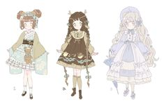 autumn kemonomimi lolita adopts | closed by Hacuubii on DeviantArt Anime Girl Dress, Anime Girl Cute, Anime Art Girl, Pretty Art, Cute Art, Drawing Clothes, Anime Outfits, Character Design Inspiration, Drawing Reference