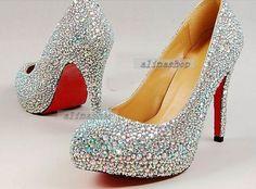 Bling Ab Crystals Heels Sparkling Bridal Shoes Platform Custom Size Heel