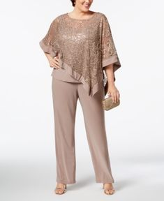 R & M Richards Plus Size Sequined Lace Pantsuit Plus Size Fashion For Women, Plus Size Womens Clothing, Plus Size Dresses, Plus Size Outfits, Pants For Women, Clothes For Women, Blouse Styles, Classy Outfits, Designer Dresses