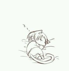 (Rp:3 )*Stares at the little neko Levi in half shock and half curiosity*..h..he's turned into..such a small ball of cuteness..!