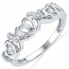 .13 Carat Brilliant Round Heart Shape Diamond Ring Wedding Band