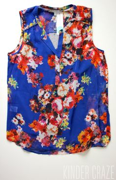 This is a beautiful print with bright colors - Vivienne Floral Print Sleeveless Blouse from Daniel Rainn I wear a MEDIUM in his pieces