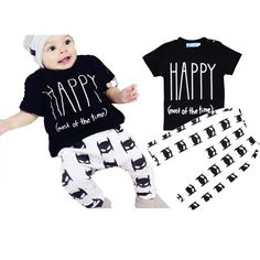 Happy(most of the time) T shirt + Pant Batman Baby Girl Clothing Set